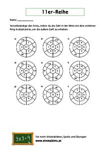 Kostenlose 11er-Reihe-Arbeitsblätter - Einmaleins.at
