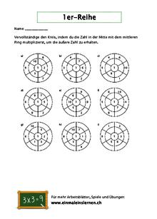 Kostenlose 1er-Reihe-Arbeitsblätter - Einmaleinslernen.ch