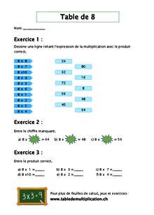 Fiches De Table De 8 Tabledemultiplication Ch