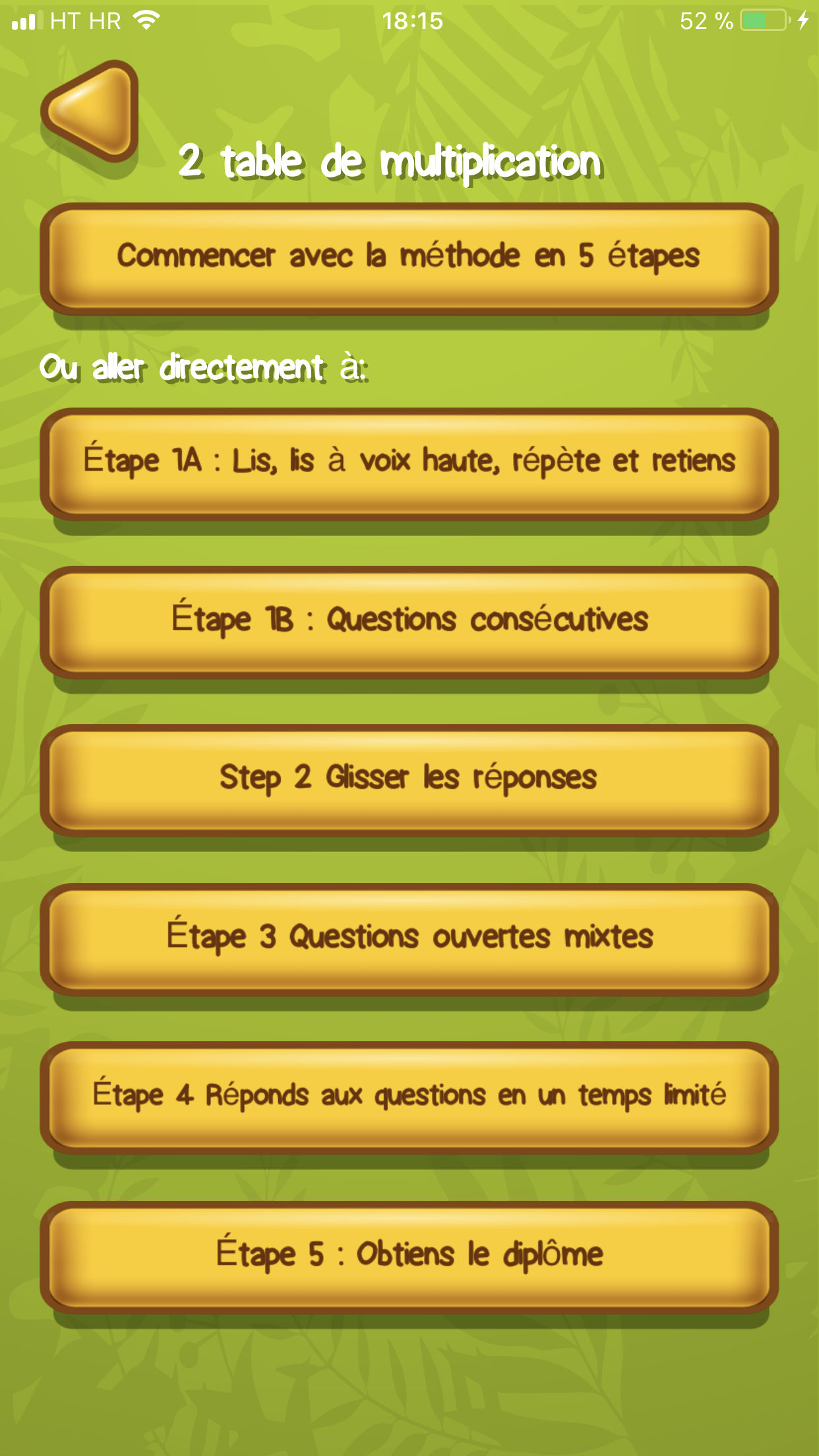 Table de multiplication App Exemple 2