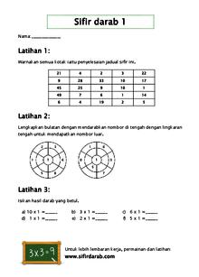 Lembaran Kerja Sifir Darab Boleh Cetak Lembaran Kerja Matematik