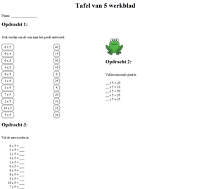5 times table worksheet