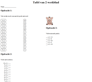 2 times table worksheet