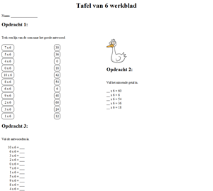 6 times table worksheet