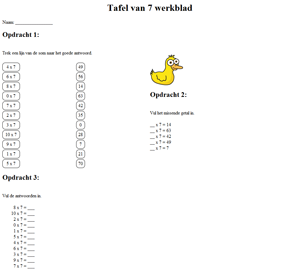 7 times table worksheet