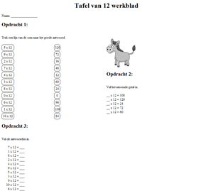 12 times table worksheet