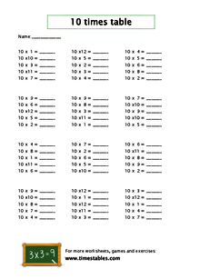 Free 10 times table worksheets at Timestables.com