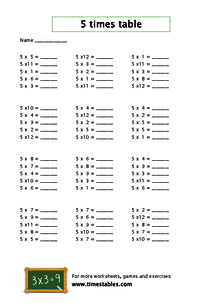 Free 5 times table worksheets at Timestables.com