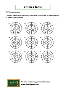 Free 7 times table worksheets at Timestables com