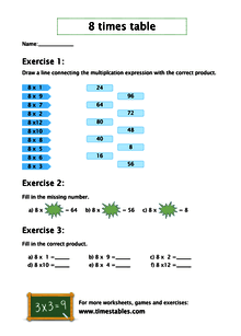 Free 8 times table worksheets at Timestables.com