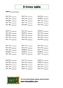 Free 9 times table worksheets at Timestables.com